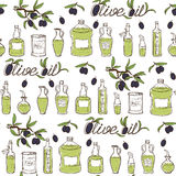 Olive Oil Seamless Pattern tirée par la main Photographie stock
