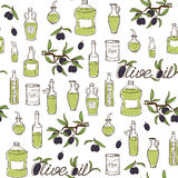 Olive Oil Seamless Pattern tirée par la main Images stock
