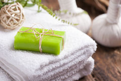 Free Olive Oil Soap And Bath Towel Stock Photo - 97370300