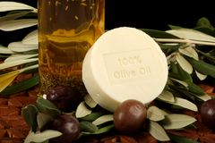 Olive Oil, Soap And Olives Royalty Free Stock Images