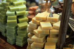 Olive Oil Soap Bars. Olive Oil Organic Soap Bars in a Store royalty free stock photos