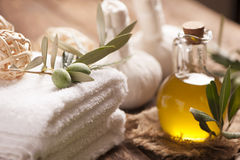 Olive oil soap and bath towel Royalty Free Stock Images