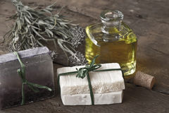 Olive oil soap and lavender Stock Photo