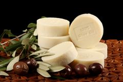 Olive Oil Soap And Olives Stock Photography