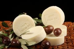 Olive Oil Soap And Olives Stock Image
