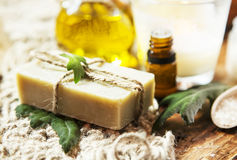 Olive Oil Soap Spa Therapy Stock Photo