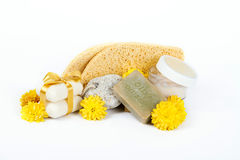 Olive oil soap and sponges for spa Royalty Free Stock Photo