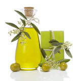 Olive oil and soap royalty free stock photo