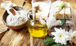 Olive Oil Spa Therapy. Setting , Wellness Treatment with Olive Oil Products royalty free stock images