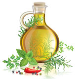 Olive oil with spices and herbs. Contains transparent objects. EPS10 Stock Image