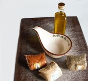 Olive oil, spices and sauce boat Royalty Free Stock Photo