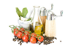 Olive oil, spices and tomatoes Royalty Free Stock Photos