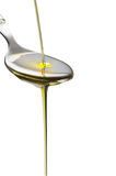 Olive oil on a spoon Royalty Free Stock Photo