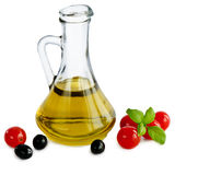Olive oil and tomatoes Stock Image