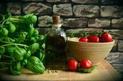 Olive Oil, Tomatoes, Basil, Eat Stock Image