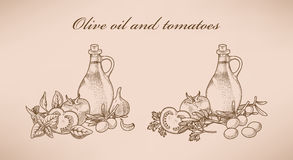 Olive oil and tomatoes Royalty Free Stock Image