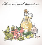 Olive oil and tomatoes Royalty Free Stock Photos