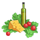 Olive oil, tomatoes, salad and cheese. Isolated on white background. Vector illustration Royalty Free Stock Photo