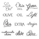 Olive oil typography set of several variants of Stock Photography