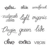 Olive oil typography set of several variants of Stock Photo