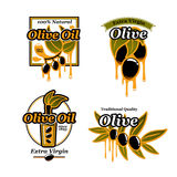 Olive oil vector icons and fresh green olives Stock Photos