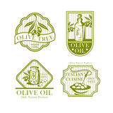 Olive oil vector icons for olives product labels Stock Photo