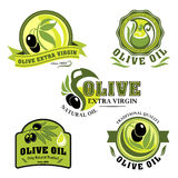 Olive oil vector icons for product labels. Olive oil product icons of vector green and black olives, bottles and pitchers. Extra virgin olive oil drops for Stock Photography