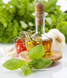 Olive oil and vegetables stock image