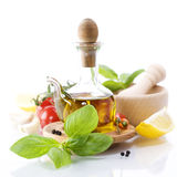 Olive oil and vegetables Royalty Free Stock Photography