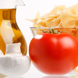 Olive oil and vegetables Royalty Free Stock Images