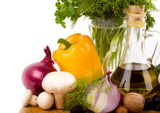 Olive oil and vegetables Stock Photography