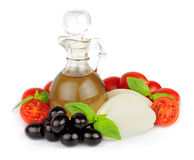 Olive oil with vegetables Stock Photo
