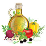 Olive oil and vegetables Stock Photos