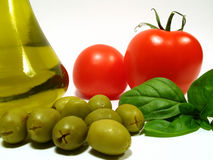 Olive oil and vegetables royalty free stock photo