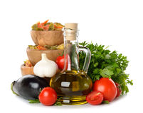 Olive oil, vegetables and pasta Stock Image