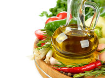 Olive oil, vegetables and spices Stock Photo