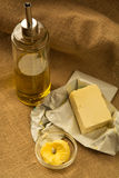 Olive oil, and vegetal butter Stock Images