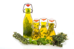 Olive oil verious herbs Stock Photography