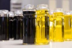 Olive oil and vinegar bottles Stock Images