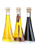 Olive oil and vinegar bottles Royalty Free Stock Photography