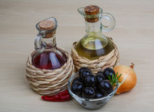 Olive oil and vinegar Stock Photos