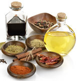 Olive Oil,Vinegar And Spices Royalty Free Stock Photos