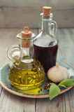 Olive oil and wine vinegar Stock Photos