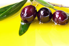 Olive oil and fresh olives  Stock Photo