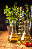Olive oils in bottles with ingriedients Royalty Free Stock Photo