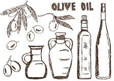 Olive oils doodles Royalty Free Stock Image