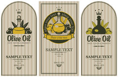 Olive oils. Set of labels for olive oils Royalty Free Stock Images