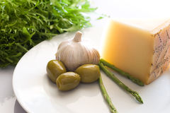 Olive onion cheese asparagus Royalty Free Stock Images