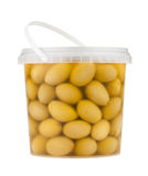 Olive pail isolated Royalty Free Stock Photo