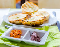Olive pate and bread Royalty Free Stock Images